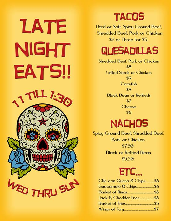 Bandito's Burrito Lounge Richmond VA late night eats menu