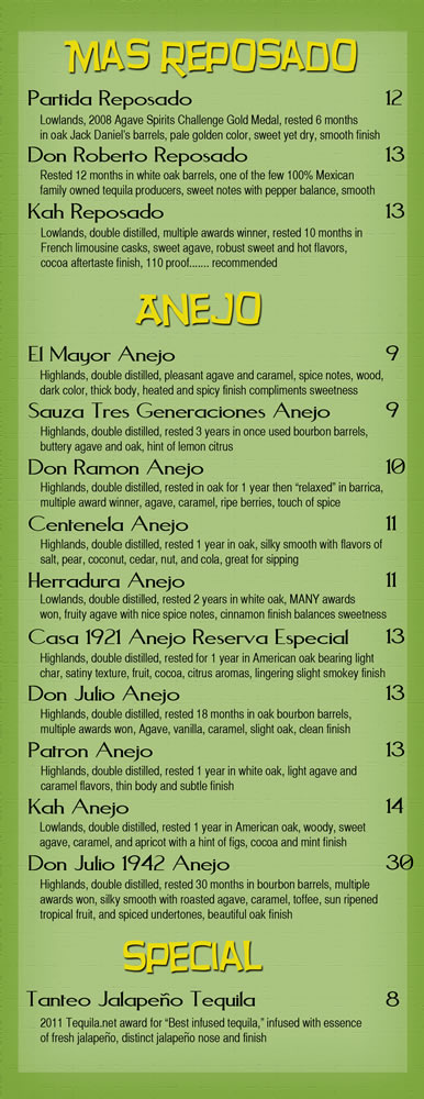 Banditos Burrito Lounge Tequila Cocktails pg 4