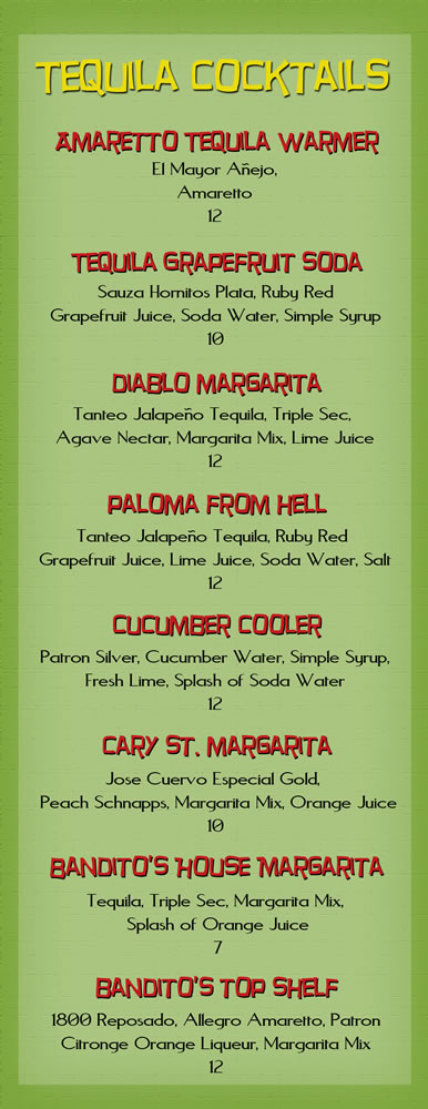 Banditos Burrito Lounge Tequila Cocktails pg 6